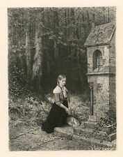 "Ernst Carl Forberg / Hubert Salentin etching ""Prayer in the Forest"""