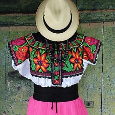 Lovely Floral Hand Embroidered Juquila Blouse Oaxaca Traditional Romantic Fiesta