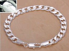 """925 Sterling Silver plating bracelet men""""s 8MM flat Fashion Italy Jewelry gift"""