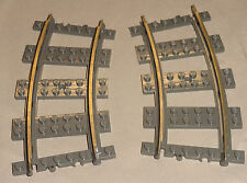 x2 Lego Electric Train Track 9v 9 VOLT Curved Train Track OLD DARK GRAY