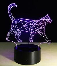 3D LED Night Light Touch Switch illusion Cat 7 Color Change LED Table Lamp B152