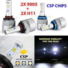 4X Philips 252W 25200LM Car LED Headlight Kit 9005 HB3 H11 H8 Hi-Low Beam Bulbs