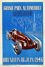 1946 Bruxelles Grand Prix Automobile Race Car Advertisement Vintage Art Poster