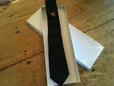 "NWOT Hickey Freeman 100% Silk Tie 3"" Skinny Black Hand Made in USA Never Tied"