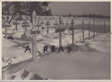 WW2 snow covered German Military cemetery grave markers Holland ? Germany ? 1945