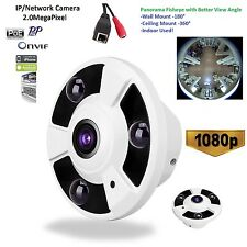 HD 2Megapixel 1080P CCTV Security Hidden IP Camera Onvif Fisheye Full View P2P