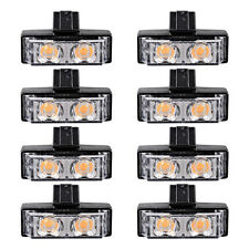 8X 2LED Car Front Grille Strobe Light Bar Warning Hazard Emergency Amber 2LED