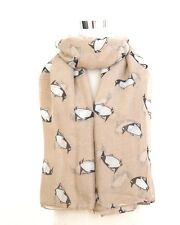 Beige Colour Unusual Cute Monty Penguin Print Scarf Within 24 Hour Dispatch**