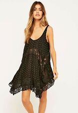 NWT FREE PEOPLE SzM SHE POLKA DOT SWING TUNIC SLEEVELEES MINI DRESS BLACK $88.