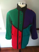 Vintage International Scene Color Block Mod Retro Wool Jacket Pea Coat Sz 5/6
