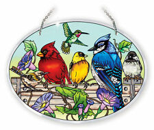 AMIA STAINED GLASS SUNCATCHER 6.5 X 9 OVAL RAIL BIRDS   #41053
