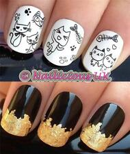NAIL ART SET #459 BLACK CATS/PAW/FISH WATER TRANSFERS/DECAL/STICKERS & GOLD LEAF