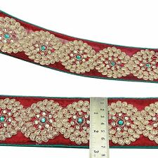 Embroidered Red Trim Beaded Ribbon Sari Border 6.8 Cm Wide Trimming By 1 Yard