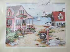 "1992 DIMENSIONS ""SEASIDE COVE"" STAMPED CROSS STITCH KIT #3126 OPENED & COMPLETE"