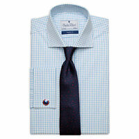Charles Wilson Men's Blue Micro Check Double Cuff Formal Business Dress Shirt