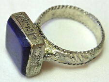 TURKOMAN / AFGHAN ETHNIC TRIBAL SILVER RING WITH LAPIS LAZULI STONE