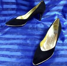 "BEAUTIFUL 7.5 4A BRUNO MAGLI GOLD TRIM BLACK SUEDE 3"" PUMP WOMENS SHOES AAAA"