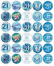 30x 21st Birthday Boy Blue Cupcake Toppers Edible Wafer Paper  Fairy Cake Topper