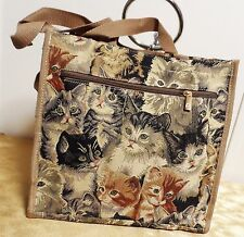 Signare Small Beige Cat Kitten Tapestry Tote Shopper Packable Bag NWOT