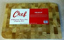 Kitchen Chef Solid Wood Professional Heavy Duty Butchers Chopping Board - Block.