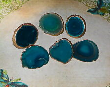 18K Gold Edge Custom Turquoise Agate Slice Drawer Pulls Knobs