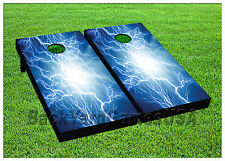 VINYL WRAPS Cornhole Boards DECALS Thunder Energy Wave BagToss Game Stickers 571