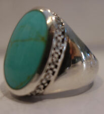 LARGE TIBETAN TERQUOISE FINE FINISHED BLUE OVAL RINGS SIZE 8 AND 9