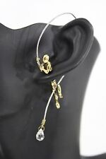 New Women Antique Gold Double Sided Fisherman String Earring Metal Fashion Stud