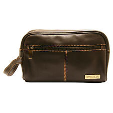 Rowallan - Brown Buchanan Wash Bag in Soft Cowhide Leather