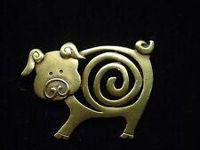 """JJ"" Jonette Jewelry Bronze Pewter 'Swirl' Curly Tailed Pig Pin"