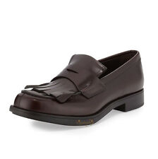 PRADA KILTIE SPAZZOLATO ROIS LEATHER LOAFERS SHOES MORO DARK BROWN 10 UK 11 US