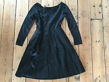 Vintage 1950s Polly Peck Black Satin Fit & Flare Dress 8 LBD