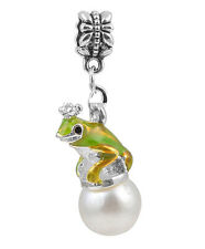1Pcs Pearl Green Crown Frog Charms Silver Pendant bead For Bracelet/Necklace