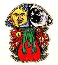Psychedelic Sun and Moon Mushroom Shroom Hippie Groovy Iron On Applique Patch