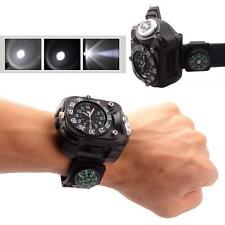 Military Tactical Rechargeable LED Outdoor Sport Wrist Watch Flashlight Compass