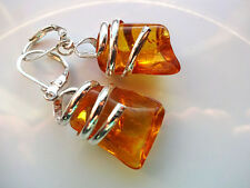 "Natural AMBER  EARRINGS ""Handmade"""