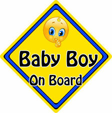 Non Personalised Child/Baby On Board Emoji Car Sign ~ Baby Boy On Board