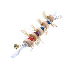 Parrot Bird Wooden Bell Accessory Cage Hanging Parakeet Cockatiel Toy