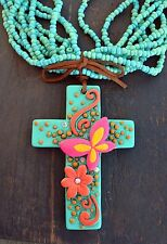Cowgirl Bling Clay CROSS Flowers Butterfly Turquoise Bead Gypsy necklace