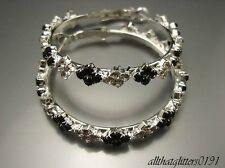 Stunning Clear & Black Crystal Hoop Earrings 4cm Hoop