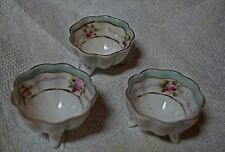 3 NIPPON HANDPAINTED PINK ROSE W/ GOLD FOOTED SALTS, OPEN SALT, DIP, DISH--LOVEL