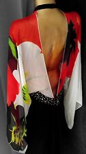 VENUS Kimono Dress 100% Silk Sexy Tunic Boho Sz 12 Open Back