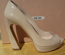 MIU MIU by PRADA nude shoe platform peep toe 39 9 AUTHENTIC