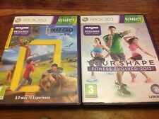 XBOX 360 Kinect Bundle - Nat Geo America The Wild & Your Shape Fitness 2012 VGC