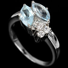 Natural BLUE TOPAZ & White Cubic Zirconia 925 STERLING SILVER RING S6.0