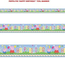NUOVO PEPPA PIG buon compleanno FOIL Banner-Bambini / Bambini Carnevale Party Banner