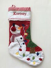 Pottery Barn Kids Christmas Red Gingham Quilted Snowman Stocking Name KORTNEY