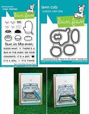 Lawn Fawn BUN IN THE OVEN Clear Stamps & Lawn Cuts Die Set LF1317 LF1318