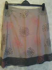 MONSOON Skirt brown & Khaki fully lined sequined & Embroidered UK 14