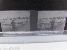 photo plaque verre STEREO militaire avec fusil devant campement de tentes AFRIQU